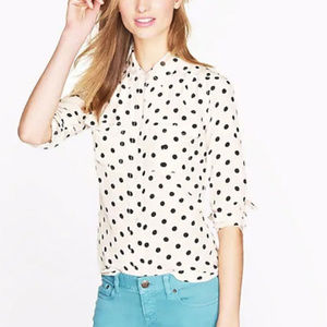 J Crew Half Button-up Blouse (Cream/Blue) Size 10